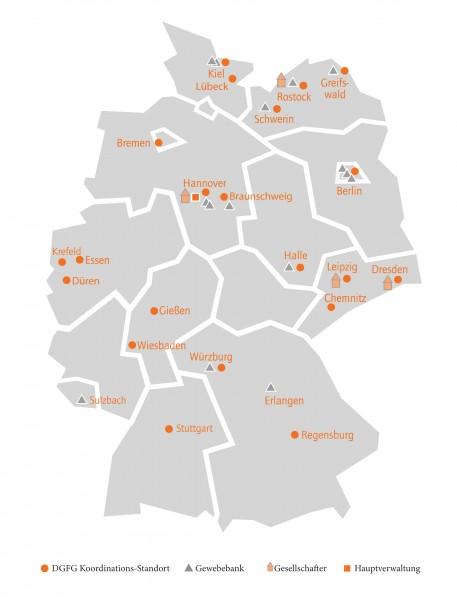 Die Mitarbeiter der DGFG koordinieren die Gewebespende an 21 Standorten in Deutschland - von Mecklenburg-Vorpommern bis Bayern.